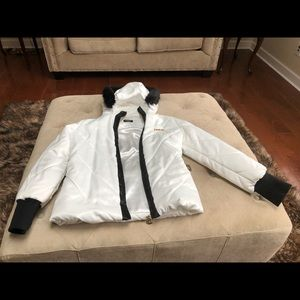 Bebe white and black satin jacket